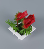 Importwala Red Iron Artificial Cala Lily Flowers with Pot