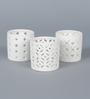Importwala White Ceramic Lace Tea Light Holder - Set of 3
