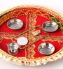 Itiha Red Fiber and Plastic Lakshmi and Ganesh Coin and Puja Thali Set