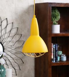 Jainsons Emporio Yellow Metal Grid Pendant Lamp