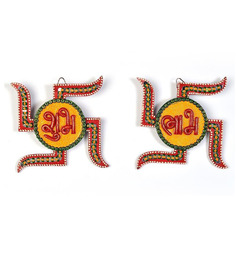 Jaipurcrafts Multicolor Wooden Papier-Mache Swastika Shubh-Labh Wall Hanging Showpiece