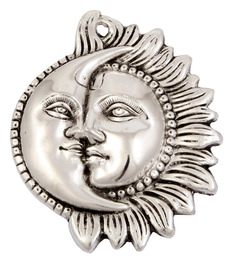Jaipurcrafts Silver Aluminium Decorative Sun And Moon Showpiece
