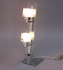 Jainsons Emporio Kastro Silver & White Crystal Glass & Metal 2 Light Table Lamp
