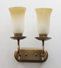 Jainsons Emporio Roselle Antique Beige & Brown Metal & Glass Double Uplighter Wall Sconce Light