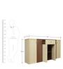 Jardin Back Storage Cabinet in Slate Oak & Dark Brown Colour by Crystal Furnitech