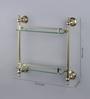 JJ Sanitaryware 2002 Golden Brass Double Glass Shelf