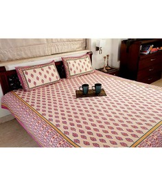 Jodhaa Double Bedsheet Set In Cotton Printed In Ivory, Blue And Red Combo With Red Border