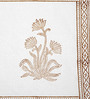 Jodhaa Floral White And Brown Cotton Table Mats - Set Of 8