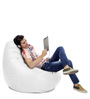 Jumbo SAC Bean Bag (Cover Only) Elegant White Color Colour  by Style Homez