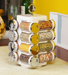 Jvs Kitchen Mate Solid White With Chrome Round 50 ML Spice Rack - Set Of 16