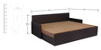 Kaiden Slider Sofa cum Bed with Two Pillows & Four Round Bolsters in Brown Colour by Auspicious Home