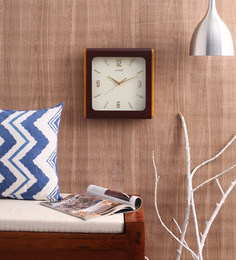 Kaiser Brown & Yellow Wooden 13 X 13 Inch Square Cola Frame With Contemporary Dial Design Wall Clock
