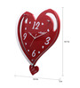 Kaiser Red Glass 15.7 x 15.2 Inch Heart-shape Wall Clock
