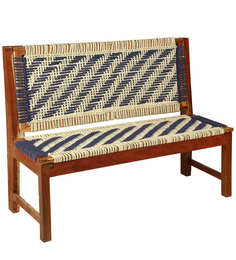 Knitted Jute Bench In White & Grey Colour By Reme