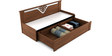 Kosmo Ornate Slider Sofa cum Bed with Storage in Rigato Walnut Finish by Spacewood