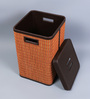 Kraftsmen Brown Faux Leather & Chic 10 L Orange & Beige Laundry Basket