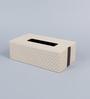 Kraftsmen Handcrafted Off White PU Tissue Box