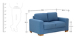 L'Aquila Two Seater Sofa in Aegean Blue Color by CasaCraft