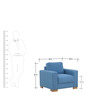 L'Aquila One Seater Sofa in Aegean Blue Color by CasaCraft