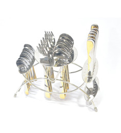 Lacuzini Waves Gold Finish Stainless Steel 24-piece Cutlery Set With Stand