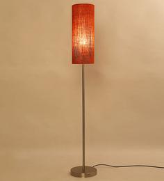 Lavish Cylinder Shade Orange Jute Ss Floor Lamp