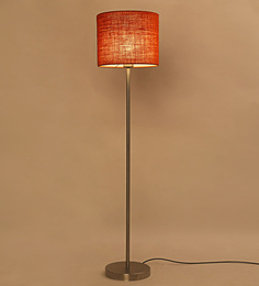 Lavish Orange Jute Drum Shade Ss Floor Lamp