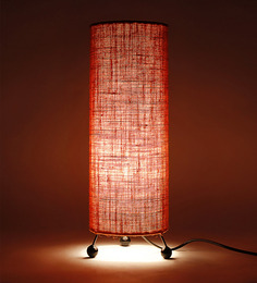 Lavish Orange Round Jute Floor Lamp