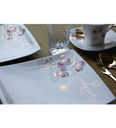 Lazzaro Cosmopolition 47 Pcs Dinner Set - Off White, Maroon & Gold