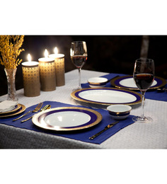 Lazzaro Double Indulgence 21 Pcs Dinner Set - Off White, Blue & Gold