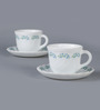 La Opala Tulip Large Lavender Dew Opal Ware 180 ML Cup and Saucer - Set Of 6