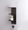 La Stella Brown Wood & MDF Napkin Holder Wall Shelf with Hook