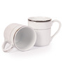 Lakline White and Silver Porcelain Mug - Set of 2