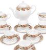 Lakline Floral Print White Porcelain 15-piece Tea Set