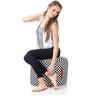 Large Cotton Canvas Checkered (Round Shaped) Ottoman Cover Only by Style Homez
