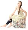 Large Cotton Canvas Floral Design (Round Shaped) Ottoman Cover Only by Style Homez