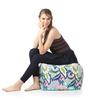 Large Cotton Canvas Floral Design (Square Shaped) Ottoman Cover Only by Style Homez
