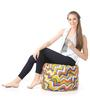 Large Cotton Canvas Geometric Design (Round Shaped) Ottoman Cover Only by Style Homez