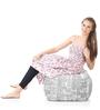 Large Cotton Canvas Newspaper Design (Square Shaped) Ottoman Cover Only by Style Homez