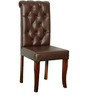 Rochelle Button Dining Chair in Brown Colour by Amberville