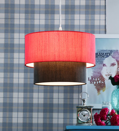 Learc Designer Lighting Red And Black Fabric Mixed Pendant