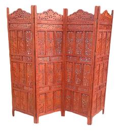 Aarsun Woods Brown Wooden Leaf Design Hand Carved Partition Screen - 1352580
