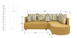 Colorado Fabric LHS Sectional Sofa with Lounger in Mustard Colour by HomeTown