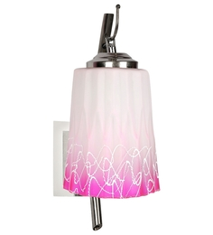Lime Light Pink And White Glass And Wood Wall Mounted Light - 1498203