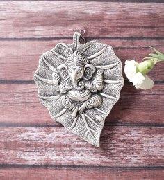 Little India Silver Metal Oxidized White Leaf Ganesha Idol