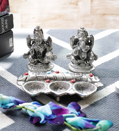 Little India Silver Metal White Lord Laxmi Ganesha Idol With Diya Set