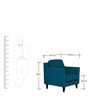 Liliana One Seater Sofa in Peacock Blue Colour by CasaCraft