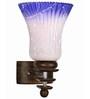 Lime Light White & Blue Glass & Wood Wall Lamp