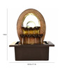 Little India Brown Polystone Oval Shape Waterfall Design Electric Motor LED Glowed Indoor Water Fountain