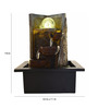 Little India Brown Polystone Wall Textured Electric Motor LED Glowed Indoor Water Fountain