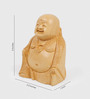 Little India Brown Wooden Fine Carved Good Luck Laughing Buddha Showpiece